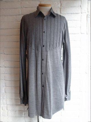 【kiryuyrik/キリュウキリュウ】Wool Jersey Frill Shirts (Gray)