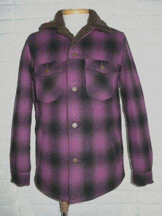 <font color=red>50%OFF</font>【BACKBONE/バックボーン】WOOL OMBRE FLANNEL RANCH JKT(PURPLE×BLK)