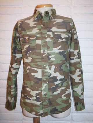 <font color=red>40%OFF</font>【BACKBONE/バックボーン】CAMOUFLAGE COTTON TWILL SHIRT