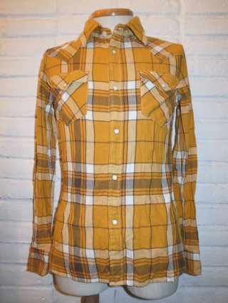 【AKM/エイケイエム】AKM×FIVEBROTHER 'L/S wrinkle Western' SHIRT (33 mustard/white)