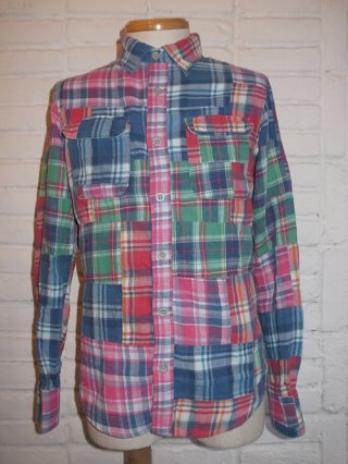 <font color=red>40%OFF</font>【BACKBONE/バックボーン】FADED INDIGO MADORAS PATCHWORK SHIRT (MULTI)