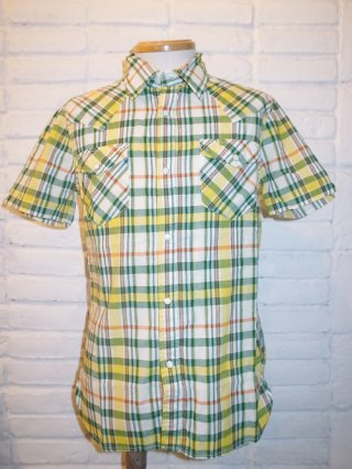 【AKM/エイケイエム】AKM×FIVEBROTHER 'S/S Western' FB thin madrass SHIRT (33 yellow/green/white)