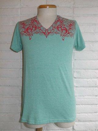 【AYUITE/アユイテ】ヨークプリント V-ネック Tシャツ(GREEN)