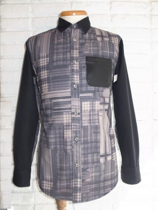 【CRUCE & Co./クルーチェアンドコー】Crazy Check Printed Shirt(BLACK)