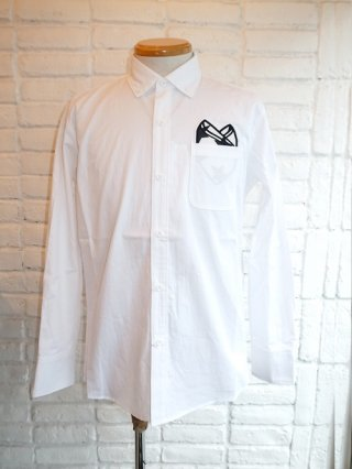 <font color=red>40%OFF</font>【SUPERTHANKS/スーパーサンクス】Pocket Chief Wappen B.D Shirt(WHITE/STARwappen)