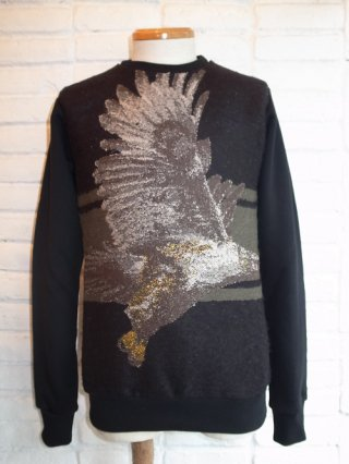 【yoshio kubo/ヨシオクボ】EAGLE SWEAT TOP(BLACK)