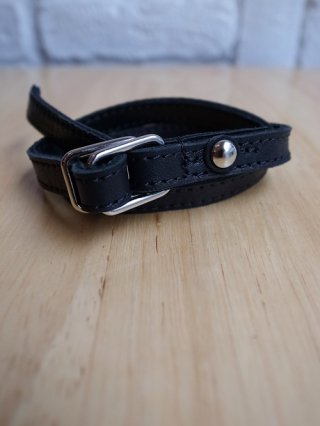【フランシストモークス】HORSE HIDE LEATHER D-RING 2ROLL BRACELET (BLACK)