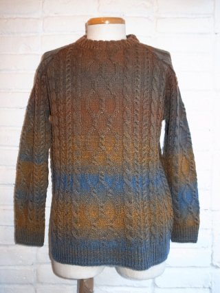 【Episode no.0/エピソード】WASHED BI-COLOR CABLE KNIT(KHAKI)