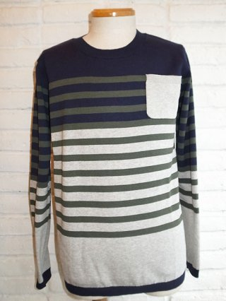 【SUPERTHANKS】BORDER KNIT (NAVY/GRAY/KHA B)