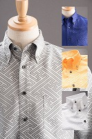 和柄ボタンダウンシャツ