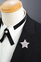 星型 ブローチ ラインストーン シルバー