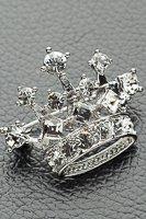 王冠 ブローチ ラインストーン シルバー#1048