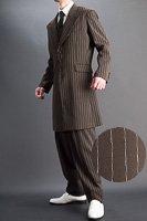 ズートスーツ・zoot suit ペンシルストライプ #0258【 ベストセットモデル 】 ブラウン