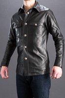レザーシャツ カウ本革 ブラック