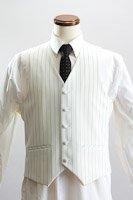 ペンシルストライプベスト・Zoot Vest 【くるみボタンベスト】 ホワイト