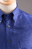 和柄ボタンダウンシャツ ブルー