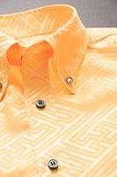 和柄ボタンダウンシャツ オレンジ
