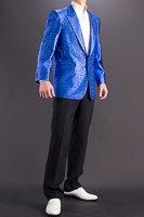 ラメ メタリックジャケット ブルー