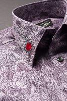 バラ柄エリ刺繍シャツ #0207 ライトパープル