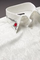 バラ柄エリ刺繍シャツ #0207 ホワイト