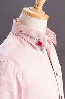 バラ柄エリ刺繍シャツ #0207 ピンク