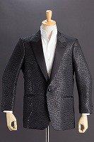 草織柄ジャガードジャケット #0523 ブラック