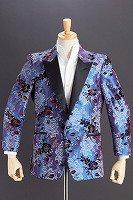 シャンタンフラワータキシードジャケット#472 ブルー