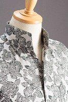 オープンスタンドカラー薔薇柄シャツ シルバー