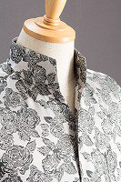 オープンスタンドカラー薔薇柄シャツ #950 シルバー