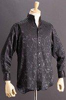 オープンスタンドカラー薔薇柄シャツ #950 ブラック