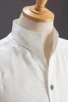 オープンスタンドカラー薔薇柄シャツ ホワイト