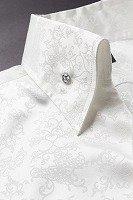 オープンカラーシャツ草柄 #708 ホワイト