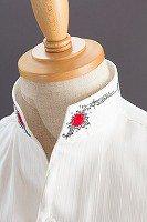 スタンドカラーシャツ オープンタイプスワロフスキー バラ柄