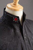 スタンドカラーシャツ オープンタイプスワロフスキー バラ柄ブラック