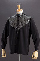 ラメ 3ボタン スタンドカラーシャツ ブラック