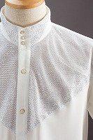ラメ 3ボタン スタンドカラーシャツ ホワイト