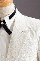 草織柄ジャケット#528 ホワイト