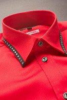 襟切り替えラインストーンシャツ #711 レッド