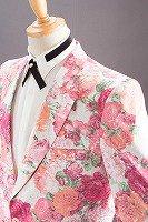 フラワー柄ジャケット #529 ホワイト・ピンク