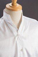 サテンスタンドカラーシャツ オープンタイプ #215 ホワイト