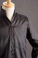 スタンドカラーサテンシャツ オープンタイプ #215 ブラック