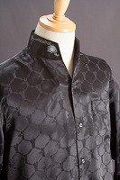 オープンスタンドカラーシャツ デザインドット柄 ブラック