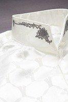 オープンスタンドカラーシャツ デザインドット柄 ホワイト