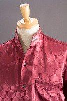 オープンスタンドカラーシャツ デザインドット柄 ワインレッド