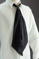 スカーフタイ リング付 ストライプ #7303 ブラック