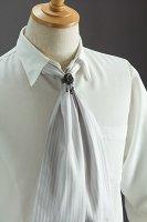 スカーフタイ リング付 ストライプ #7301 ホワイト