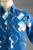 チェーン柄シャツ #50 ベースカラーブルー