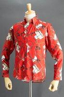 チェーン柄シャツ #50 ベースカラーレッド