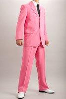 カラースーツ シングル 3つボタン ショッキングピンク 2タックパンツ モデルの画像