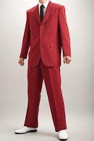 カラースーツ シングル 3つボタン ワインレッド 2タックパンツ モデルの画像